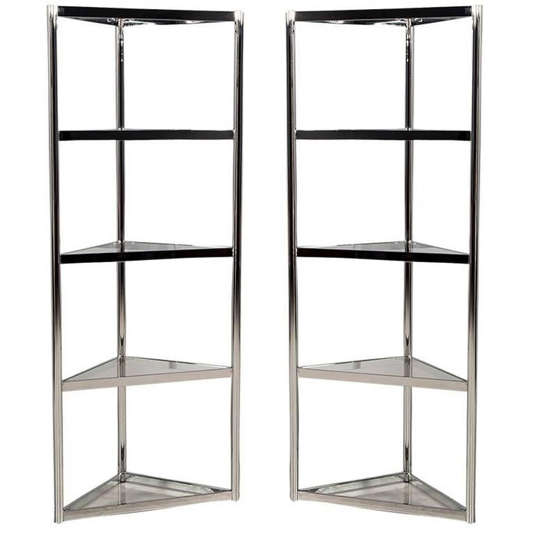 Pair of Corner Polished Stainless Steel Etegeres