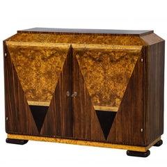 Unique Burl Wood Art Deco Console Sideboard Buffet Server Cabinet
