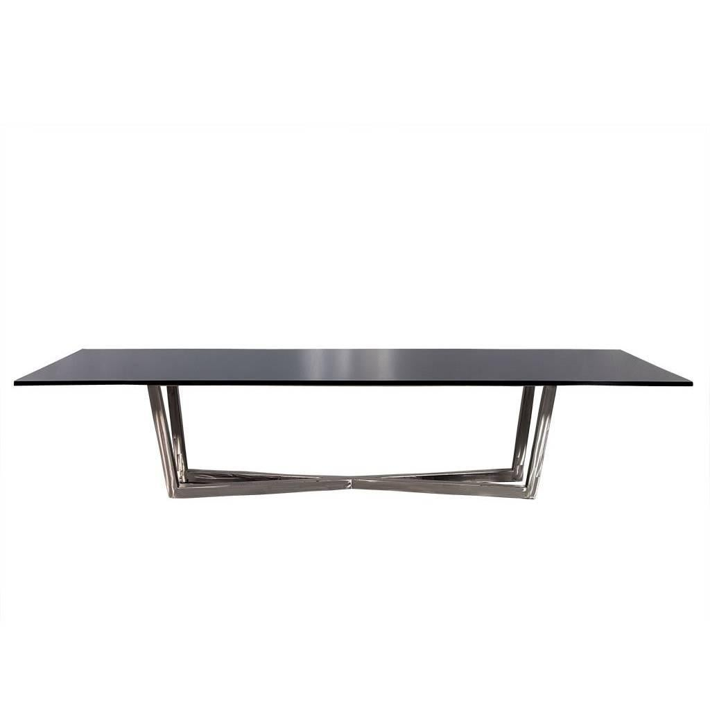 Carrocel Custom Modern Brushed Steel X Base Black Lacquer Dining Table For  Sale