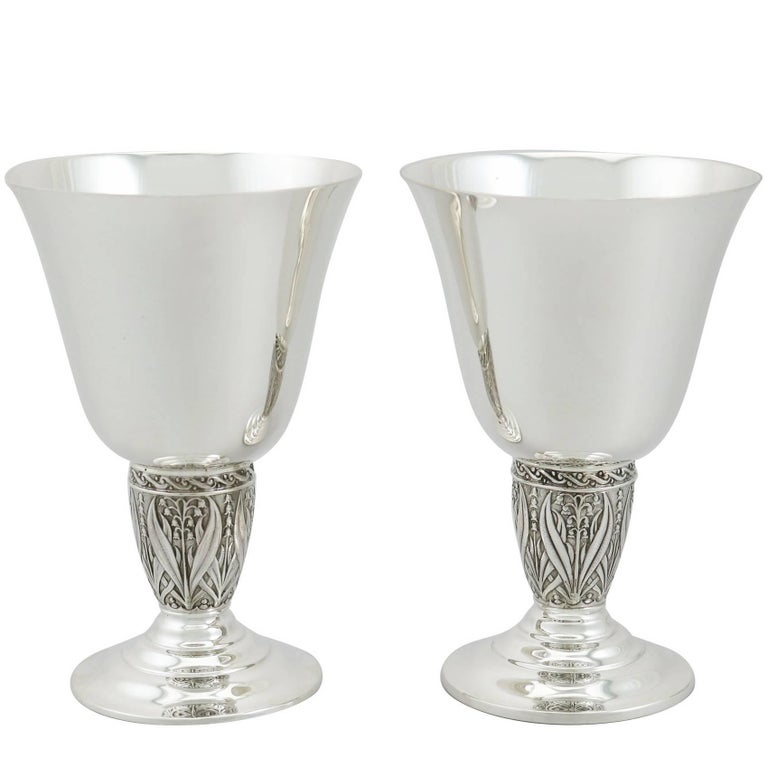 Vintage 1950s Pair of Sterling Silver Goblets