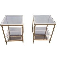 Pair of Mid-Century Modern Brass Maison Jansen Style Side Tables, 1960s