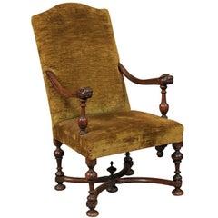 Early 18th Century Baroque Italian Walnut Armchair