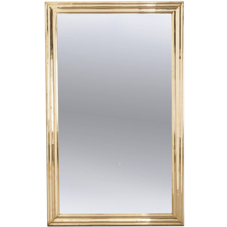 French 19th Century Brass Bistro Mirror
