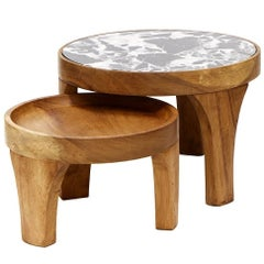 Set of Two Handcrafted Marcelino Center Tables Tropical Parota Wood and Marble
