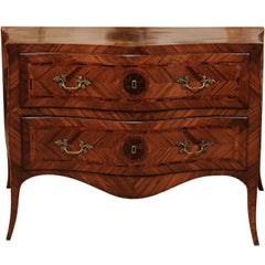 18th Century Italian Inlaid Serpentine Tulipwood and Walnut Commode, circa 1770