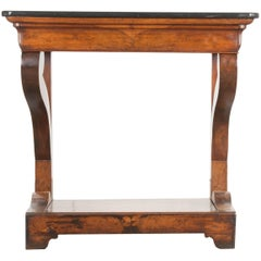 French 19th Century Walnut Restauration Console with Marble Top