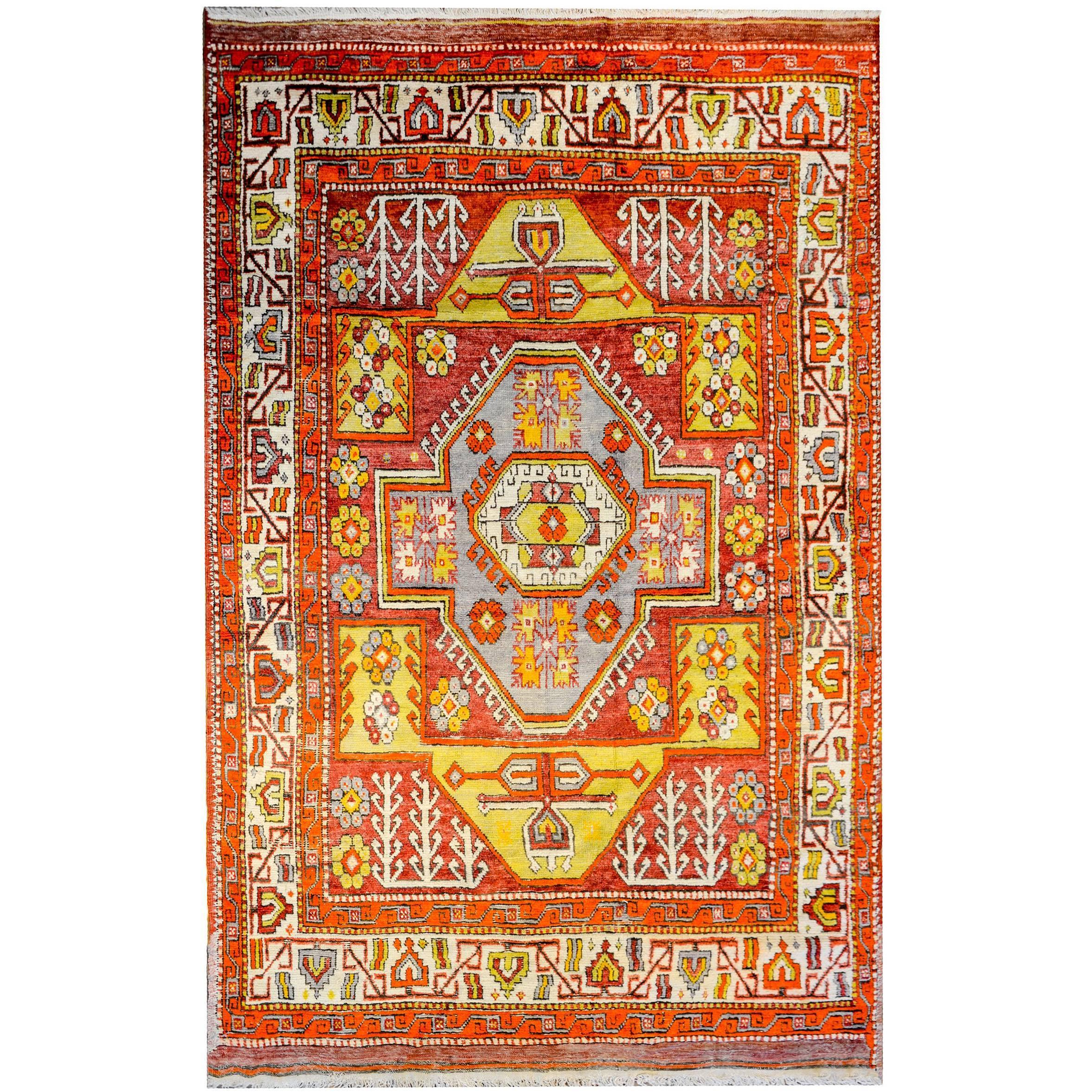Wonderful Vintage Turkish Konya Rug