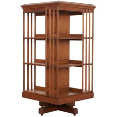 English 19th Century Oak Revolving Bookcase by S & H Jewell