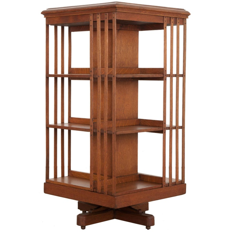 English 19th Century Oak Revolving Bookcase by S & H Jewell For Sale