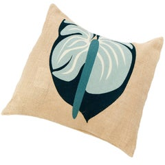 Ernesto Jute and Embroidered Tropical Flower Pillow Cover