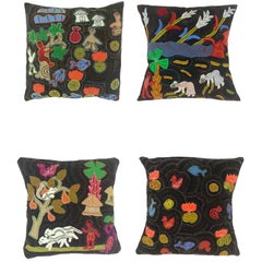 Brightly Colored Hand-Embroidered Bengali Throw Pillows with Primitive Scenes