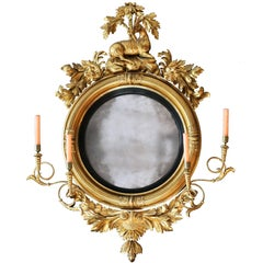 Large Early 19th Century American Regency Girandole Looking Glass