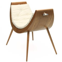 Rita Baiana Armchair/Daybed in the Brazilian Modern Design Style in Freijó Wood
