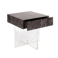 Bond Lindera Wood End Table in Charcoal