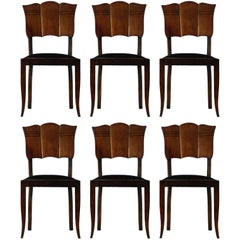 Six Midcentury Dining Chairs French Art Deco Upholstered Walnut