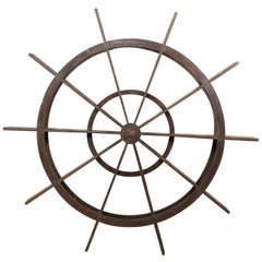 Grand Sized Wood Antique Agricultural Water Wheel Accessory from Kerala, India