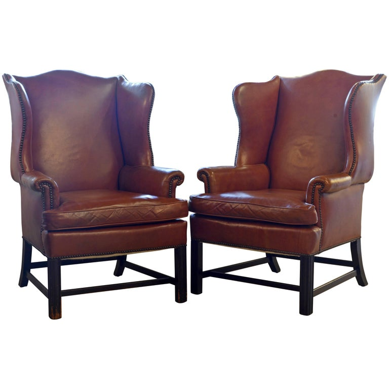 Pair of Exquisite Vintage Georgian Style Wing Back Leather Armchairs