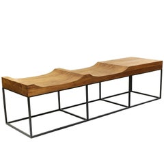 Brazilian Midcentury Inspired Marcelo Bench, Tropical Parota Wood and Steel