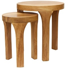 Set of Two Handcrafted Marcelo Centre Tables, Tropical Parota Wood