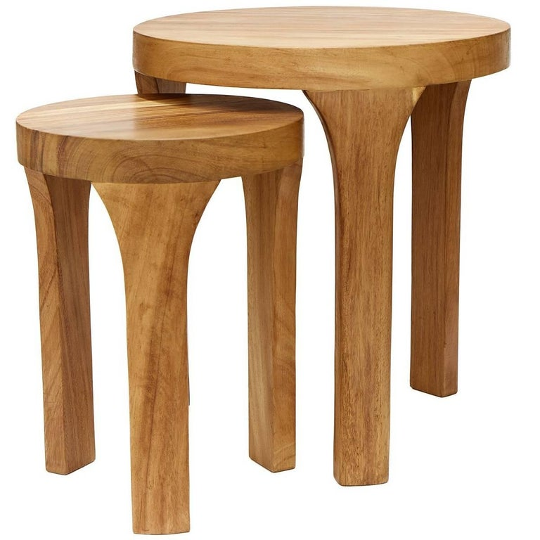 Set Of Two Handcrafted Marcelo Centre Tables Tropical Parota Wood For