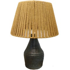 Blue Ceramic Lamp with Rush Shade