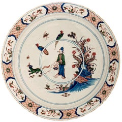 Large Polychrome Early 18th Century Chinoiserie Charger in Dutch Delftware
