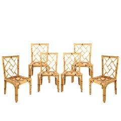 1970s Set of Six Bamboo Chairs