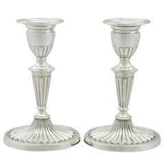 1900s Edwardian Sterling Silver Piano Candlesticks