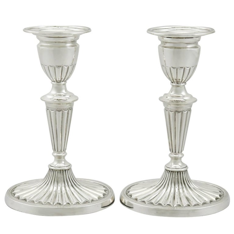 1900s Edwardian Sterling Silver Piano Candlesticks For Sale