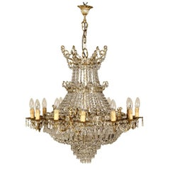 Ceiling Lamp Gilded Bronze Glass Drops Manufactured in Italy, Mid-1900
