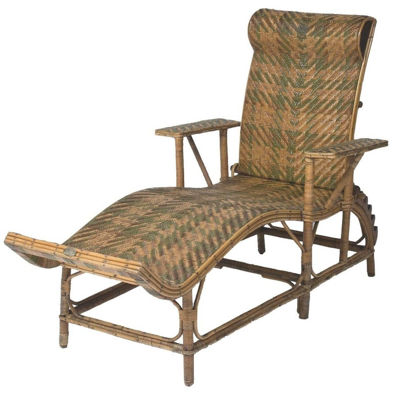 Rattan chaise longue by perret vibert france circa 1880 for Chaise longue france