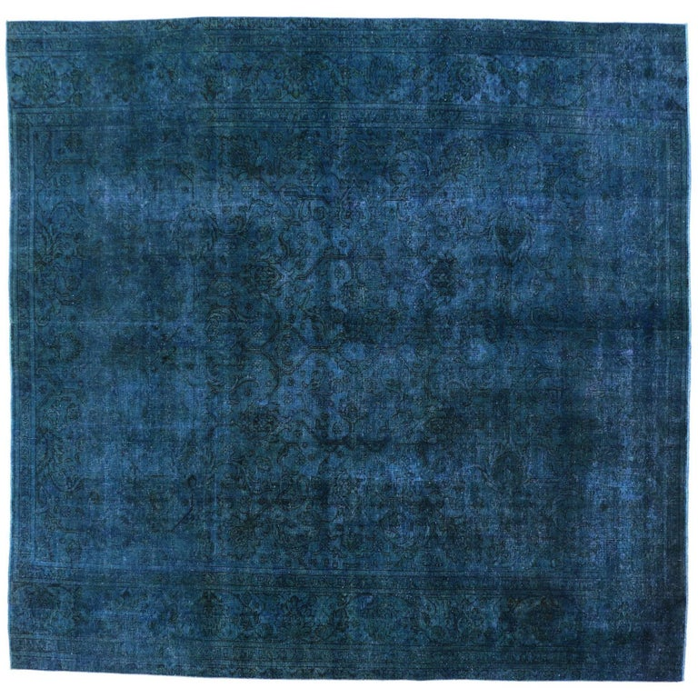 Lovely Distressed Blue Overdyed Vintage Persian Rug, Large Square Rug For  NV34