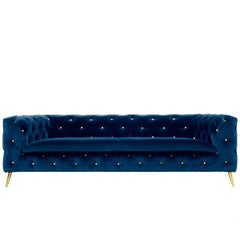 Hollywood Style Blue Velvet and Brass Legs Capitone Sofa Atacama