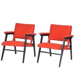 Set of Eight Folding Chairs with Orange Fabric, circa 1970