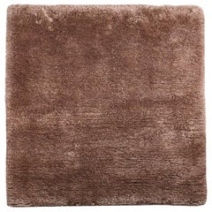 Square Silk Shag Area Rug in Coffee or Bronze Color