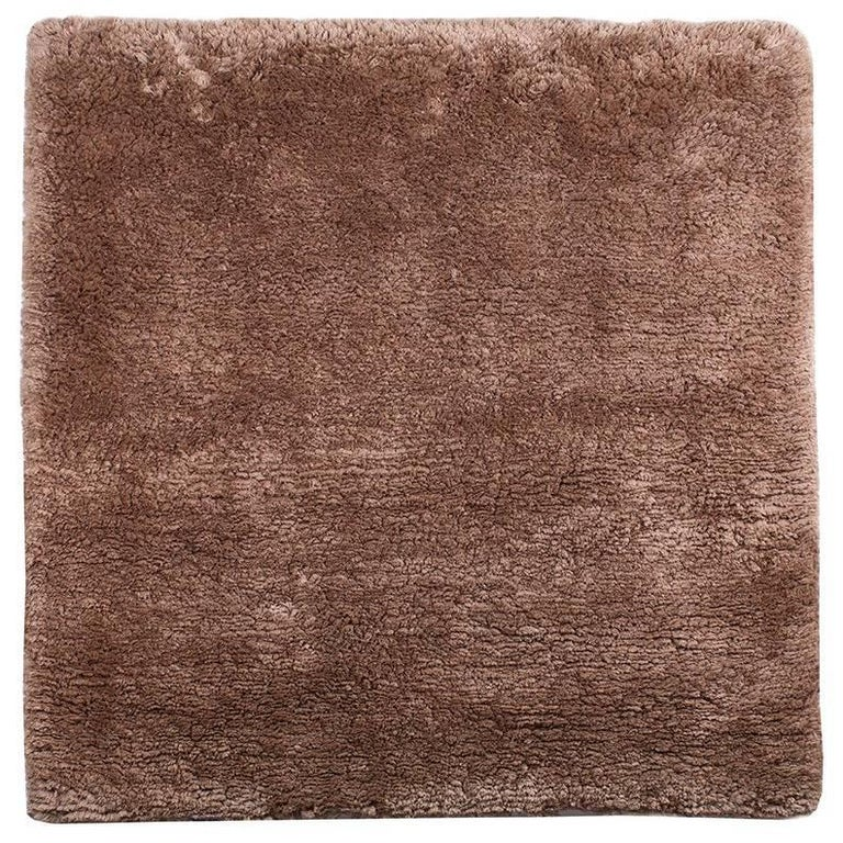 Square Silk Shag Area Rug in Coffee or Bronze Color For Sale