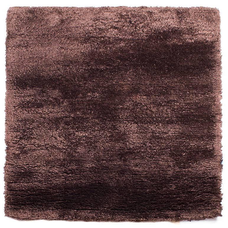 Chocolate Brown Silk Area Rug Square, Meditation Mat 3x3