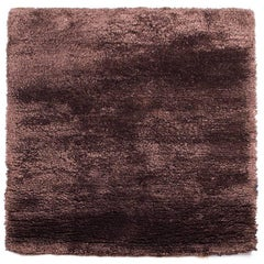 Chocolate Brown Silk Area Rug Square, Meditation Mat 3x3