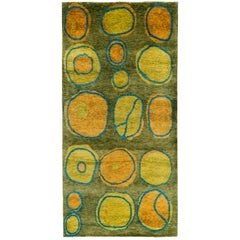 Wool And Silk Modernist Area Rug From Nepal 3x6