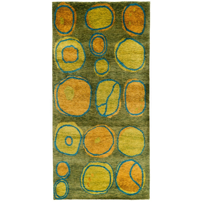 Wool And Silk Modernist Area Rug From Nepal 3x6 For Sale