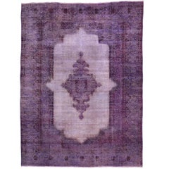 Distressed Overdyed Purple Persian Rug with Post-Modern Memphis Style