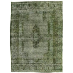 Distressed Overdyed Green Persian Rug with Modern Style