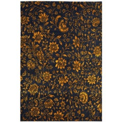 Tibetan Wool And Silk Rug, Deep Indigo Blue and Gold 6x9