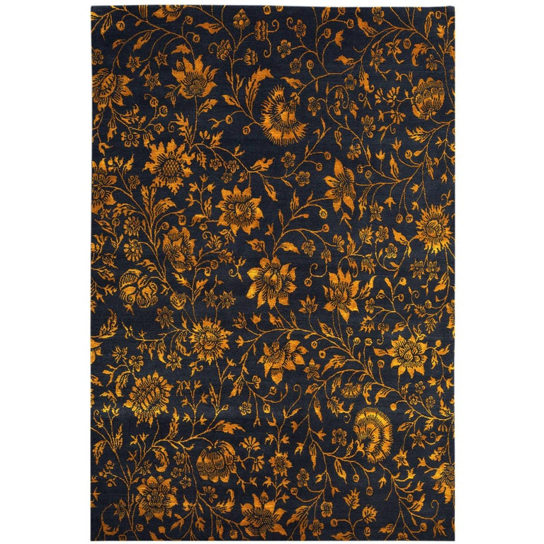 Tibetan Wool And Silk Rug Deep Indigo Blue And Gold 6x9 For Sale At