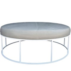 Stunning Custom Designed Round Ottoman with White Lacquered Base and Leather Top