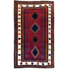 Persian Hand-Knotted Tribal Red Shiraz Rug