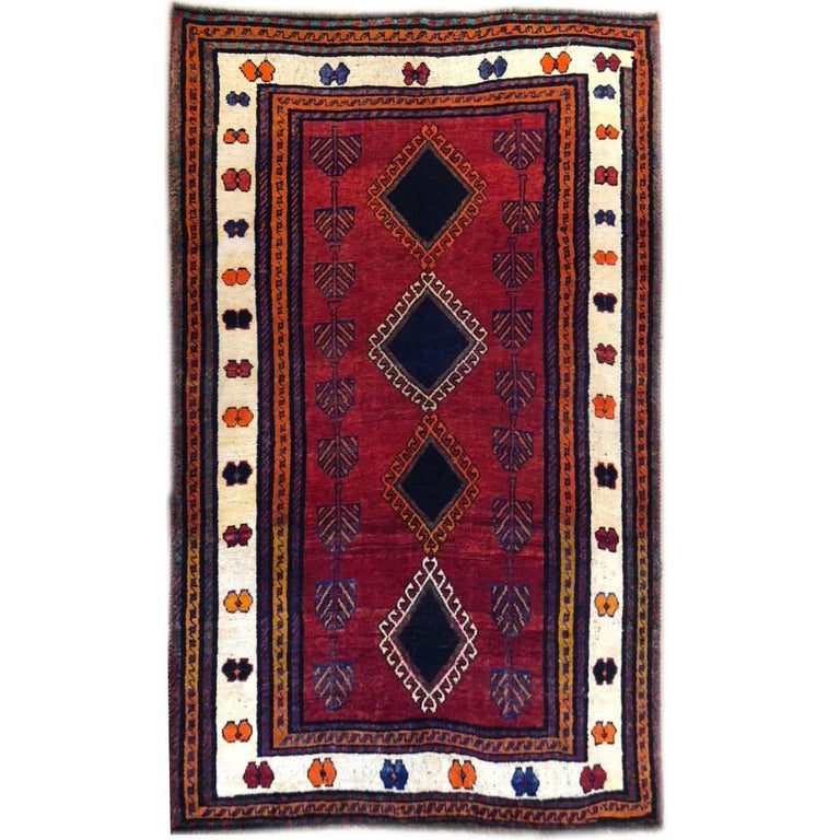 Persian Hand-Knotted Tribal Red Shiraz Rug For Sale