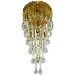 Large Mid-Century Modern Gold-Plated & Crystal Waterfall Wedding Cake Chandelier