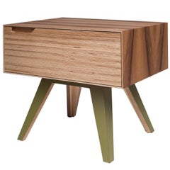 Erbert Nightstand, Hand veneered plywood in walnut/white. by Lee Matthews
