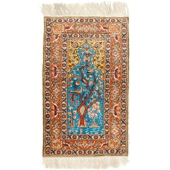 Fine Silk and Metal Thread Pictorial Turkish Rug, Wall Hanging